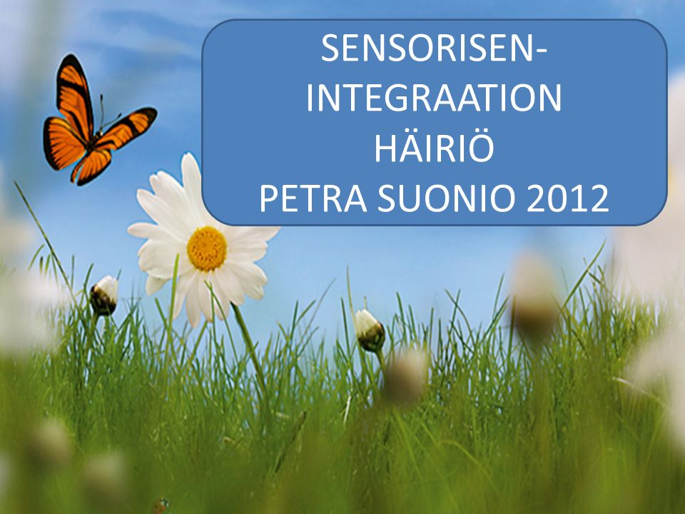 SENSORISEN- INTEGRAATION HÄIRIÖ PETRA SUONIO 2012