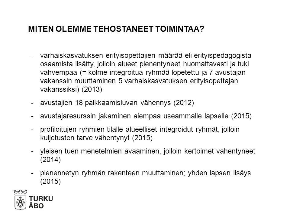 -varhaiskasvatuksen erityisopettajien määrää eli erityispedagogista osaamista lisätty, jolloin alueet pienentyneet huomattavasti ja tuki vahvempaa (= kolme integroitua ryhmää lopetettu ja 7 avustajan vakanssin muuttaminen 5 varhaiskasvatuksen erityisopettajan vakanssiksi) (2013) -avustajien 18 palkkaamisluvan vähennys (2012) -avustajaresurssin jakaminen aiempaa useammalle lapselle (2015) -profiloitujen ryhmien tilalle alueelliset integroidut ryhmät, jolloin kuljetusten tarve vähentynyt (2015) -yleisen tuen menetelmien avaaminen, jolloin kertoimet vähentyneet (2014) -pienennetyn ryhmän rakenteen muuttaminen; yhden lapsen lisäys (2015) MITEN OLEMME TEHOSTANEET TOIMINTAA
