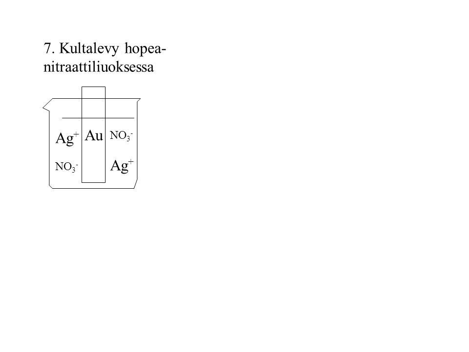Au NO 3 - Ag + 7. Kultalevy hopea- nitraattiliuoksessa