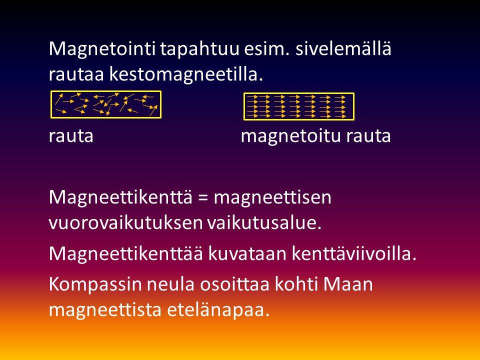 Magnetointi tapahtuu esim. sivelemällä rautaa kestomagneetilla.