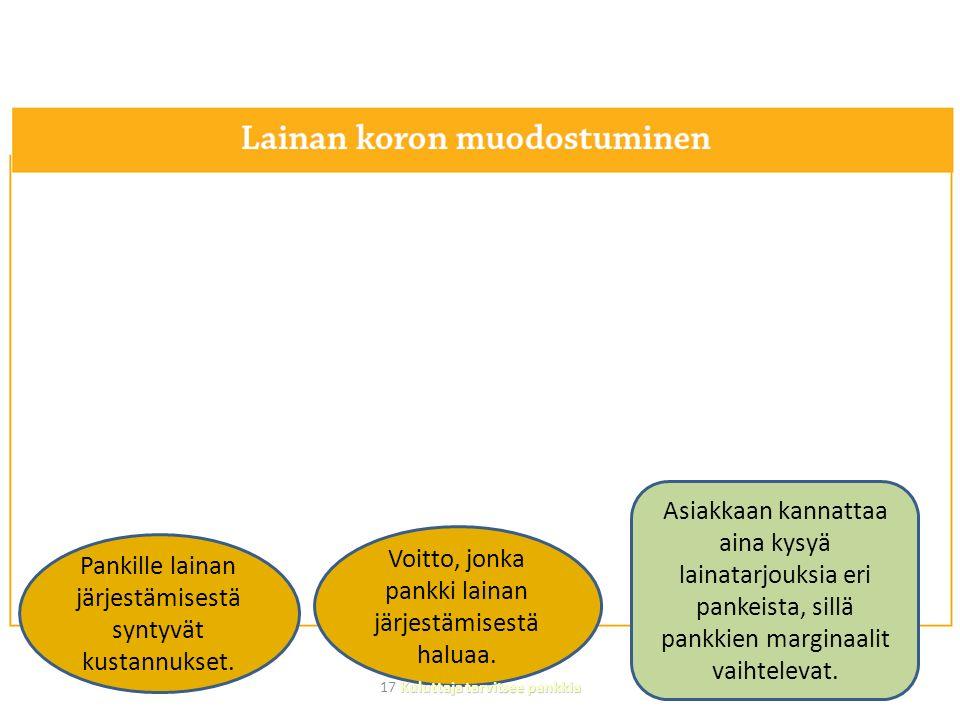 Pankille lainan järjestämisestä syntyvät kustannukset.