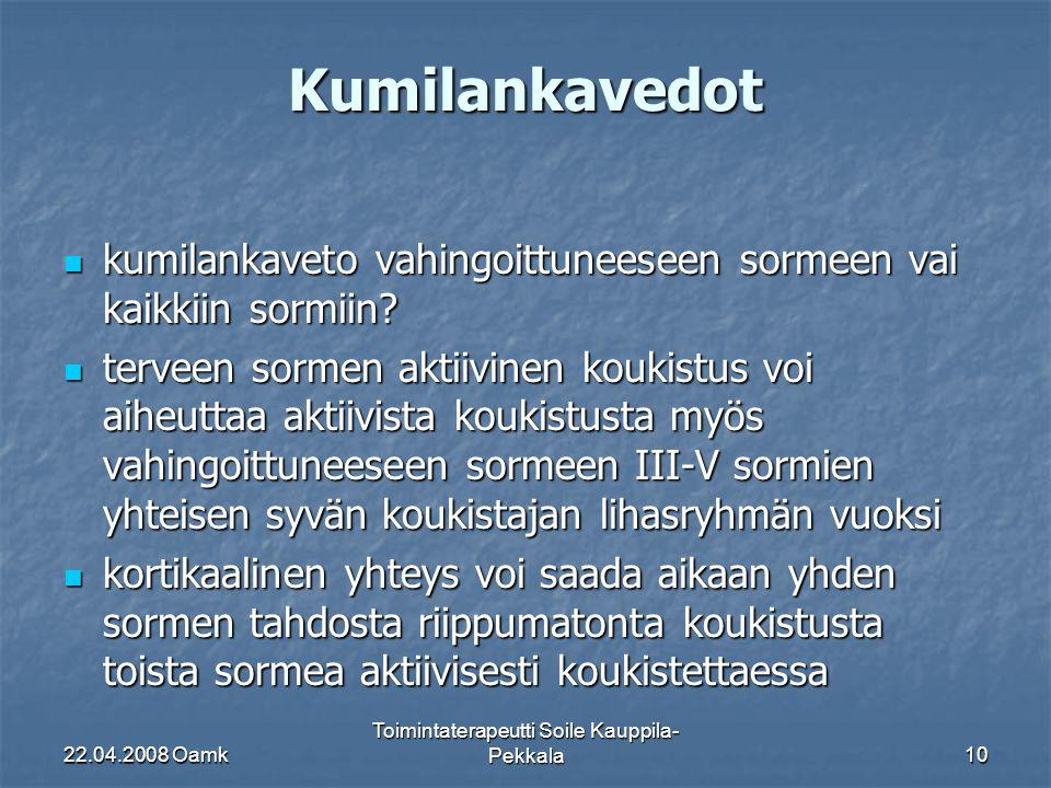 22.04.2008 Oamk Toimintaterapeutti Soile Kauppila- Pekkala10 Kumilankavedot kumilankaveto vahingoittuneeseen sormeen vai kaikkiin sormiin.