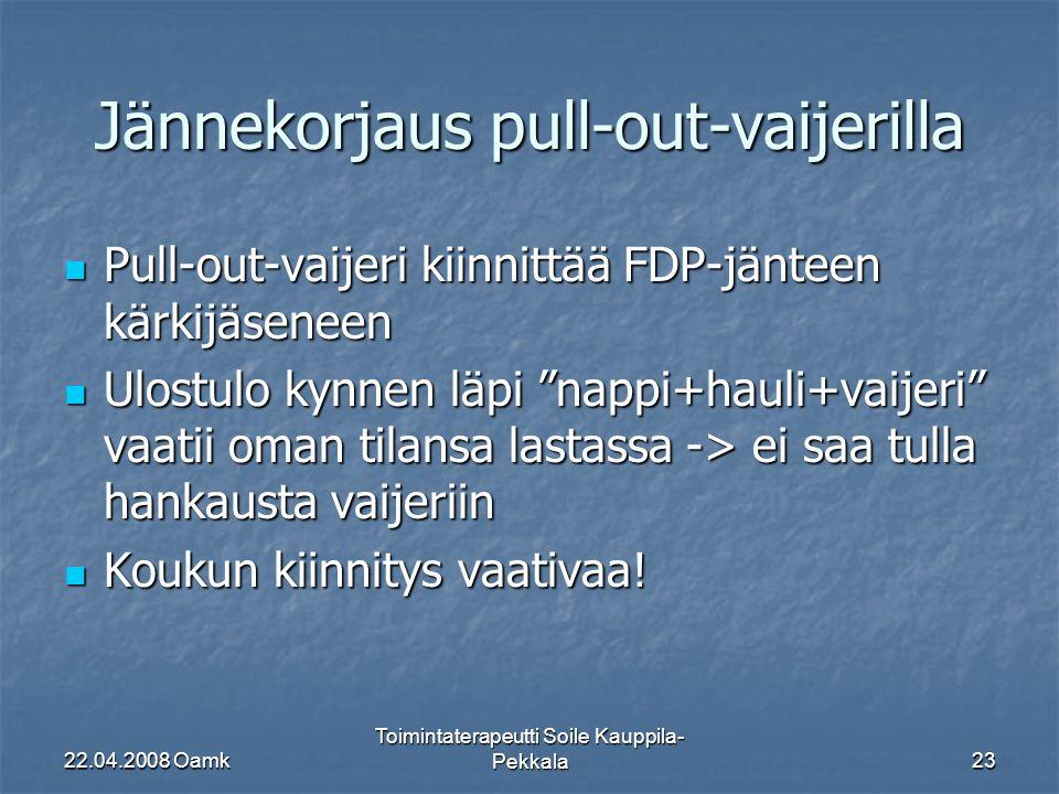 22.04.2008 Oamk Toimintaterapeutti Soile Kauppila- Pekkala23 Jännekorjaus pull-out-vaijerilla Pull-out-vaijeri kiinnittää FDP-jänteen kärkijäseneen Pull-out-vaijeri kiinnittää FDP-jänteen kärkijäseneen Ulostulo kynnen läpi nappi+hauli+vaijeri vaatii oman tilansa lastassa -> ei saa tulla hankausta vaijeriin Ulostulo kynnen läpi nappi+hauli+vaijeri vaatii oman tilansa lastassa -> ei saa tulla hankausta vaijeriin Koukun kiinnitys vaativaa.