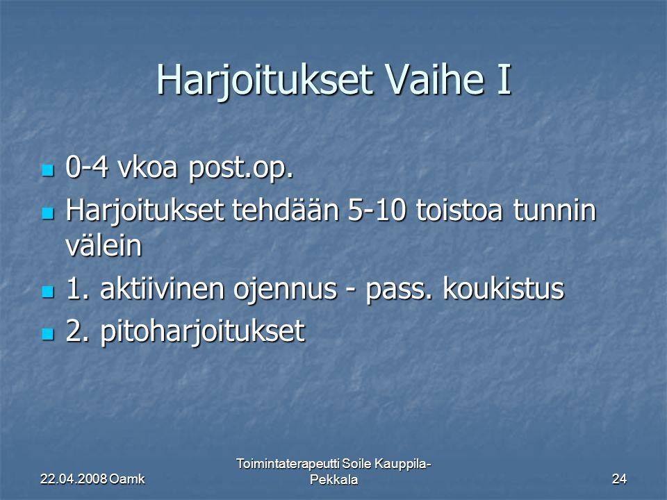 22.04.2008 Oamk Toimintaterapeutti Soile Kauppila- Pekkala24 Harjoitukset Vaihe I 0-4 vkoa post.op.