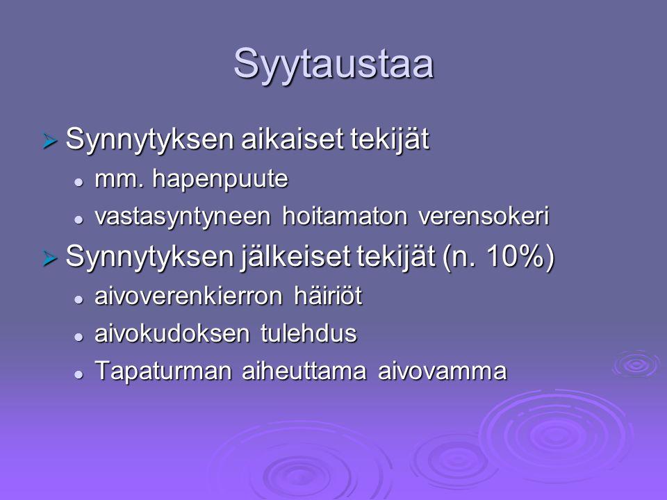 Syytaustaa  Synnytyksen aikaiset tekijät mm. hapenpuute mm.