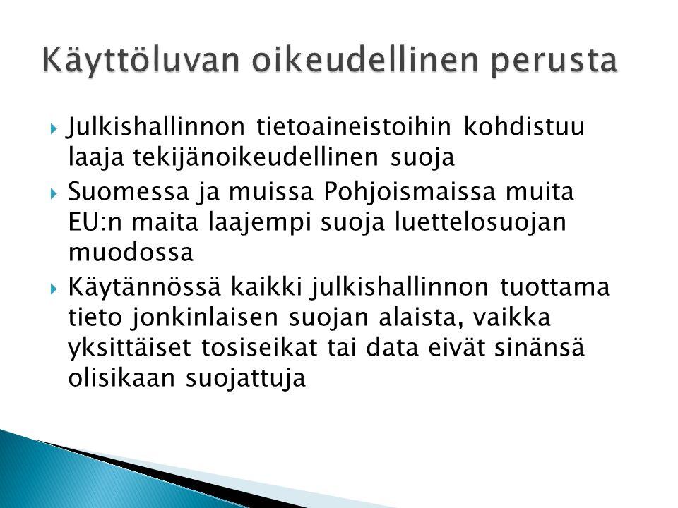  Julkishallinnon tietoaineistoihin kohdistuu laaja tekijänoikeudellinen suoja  Suomessa ja muissa Pohjoismaissa muita EU:n maita laajempi suoja luettelosuojan muodossa  Käytännössä kaikki julkishallinnon tuottama tieto jonkinlaisen suojan alaista, vaikka yksittäiset tosiseikat tai data eivät sinänsä olisikaan suojattuja