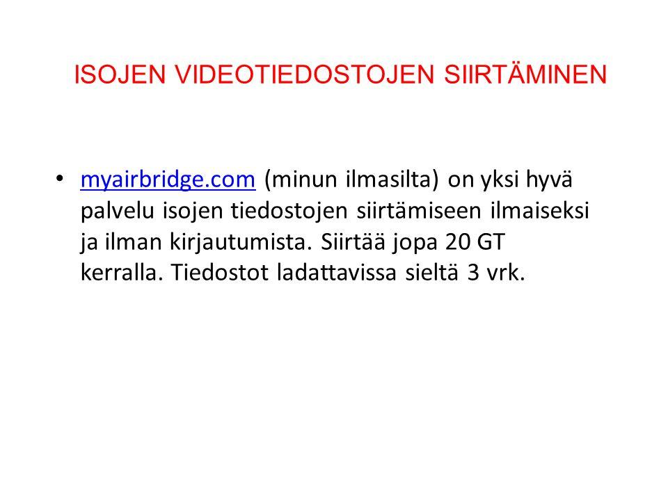 ISOJEN VIDEOTIEDOSTOJEN SIIRTÄMINEN myairbridge.com (minun ilmasilta) on yksi hyvä palvelu isojen tiedostojen siirtämiseen ilmaiseksi ja ilman kirjautumista.