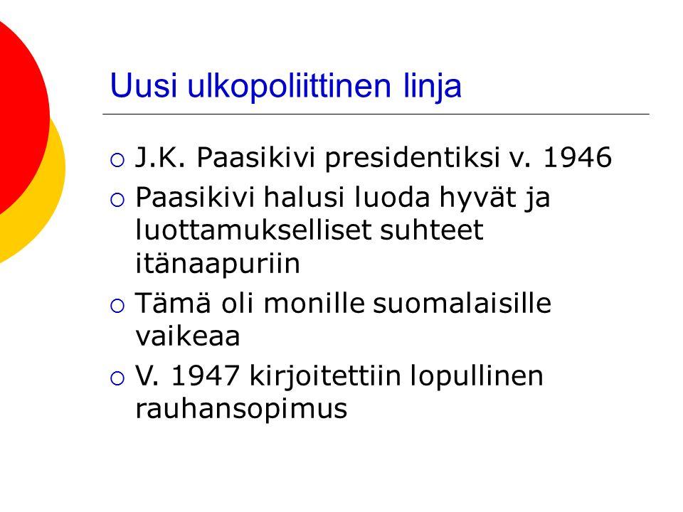 Uusi ulkopoliittinen linja  J.K. Paasikivi presidentiksi v.