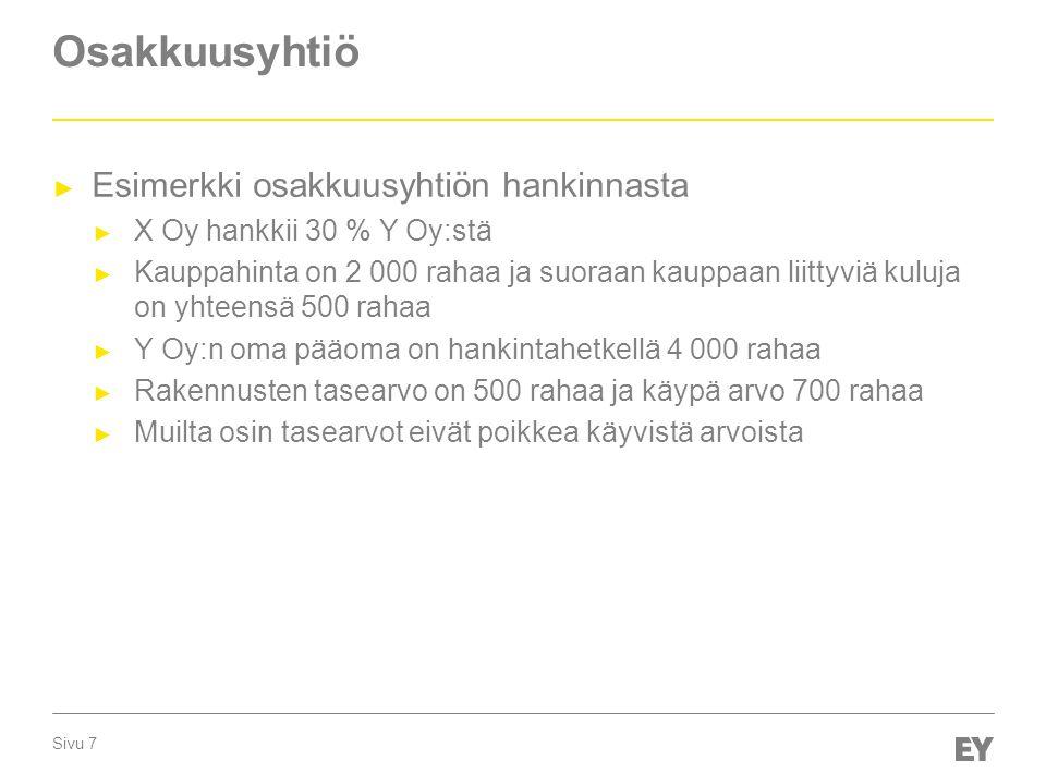 Sivu 7 Osakkuusyhtiö ► Esimerkki osakkuusyhtiön hankinnasta ► X Oy hankkii 30 % Y Oy:stä ► Kauppahinta on 2 000 rahaa ja suoraan kauppaan liittyviä kuluja on yhteensä 500 rahaa ► Y Oy:n oma pääoma on hankintahetkellä 4 000 rahaa ► Rakennusten tasearvo on 500 rahaa ja käypä arvo 700 rahaa ► Muilta osin tasearvot eivät poikkea käyvistä arvoista