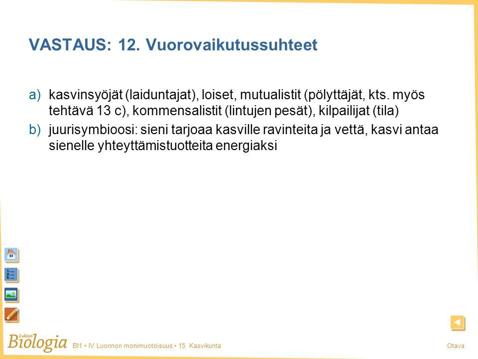 BI1 IV Luonnon monimuotoisuus 15. KasvikuntaOtava VASTAUS: 12.