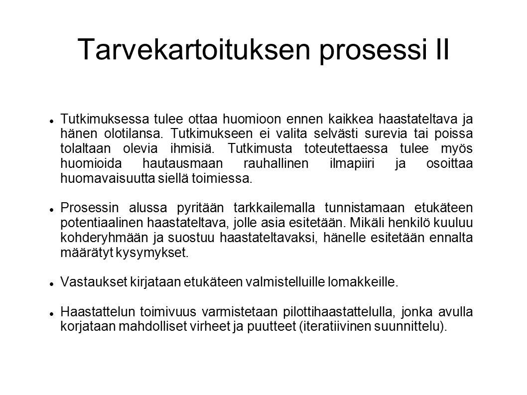 Tarvekartoituksen prosessi II Tutkimuksessa tulee ottaa huomioon ennen kaikkea haastateltava ja hänen olotilansa.