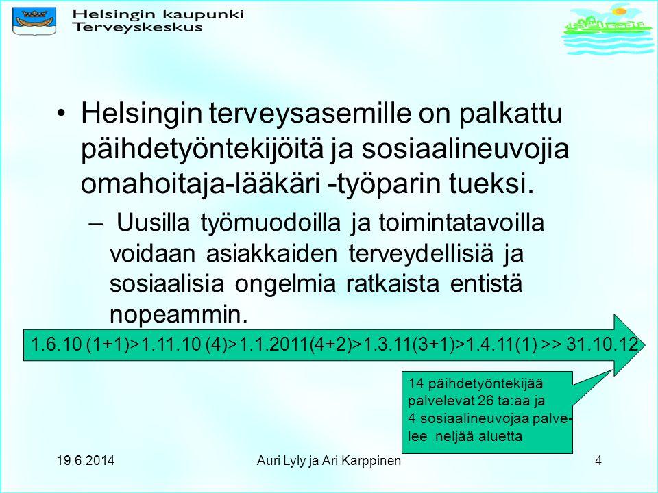 •Helsingin terveysasemille on palkattu päihdetyöntekijöitä ja sosiaalineuvojia omahoitaja-lääkäri -työparin tueksi.
