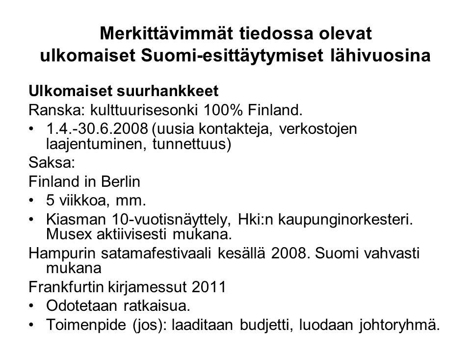 Merkittävimmät tiedossa olevat ulkomaiset Suomi-esittäytymiset lähivuosina Ulkomaiset suurhankkeet Ranska: kulttuurisesonki 100% Finland.