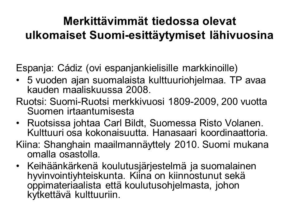 Merkittävimmät tiedossa olevat ulkomaiset Suomi-esittäytymiset lähivuosina Espanja: Cádiz (ovi espanjankielisille markkinoille) •5 vuoden ajan suomalaista kulttuuriohjelmaa.