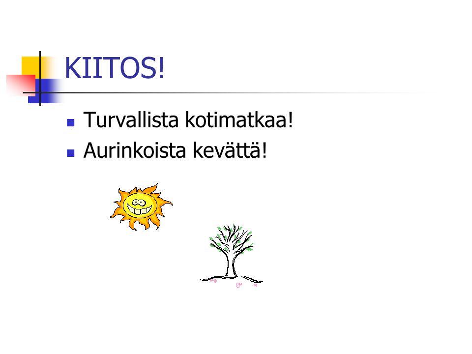 KIITOS!  Turvallista kotimatkaa!  Aurinkoista kevättä!