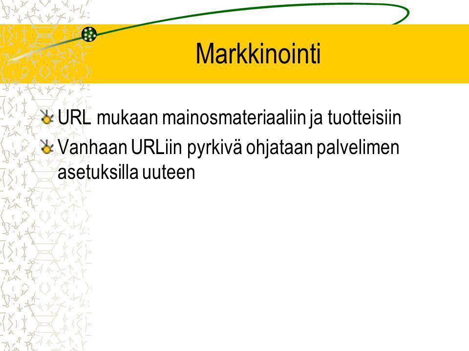 Markkinointi URL mukaan mainosmateriaaliin ja tuotteisiin Vanhaan URLiin pyrkivä ohjataan palvelimen asetuksilla uuteen