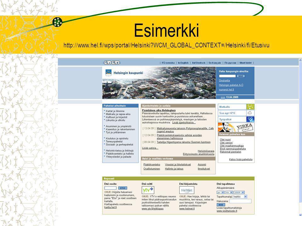 Esimerkki http://www.hel.fi/wps/portal/Helsinki WCM_GLOBAL_CONTEXT=/Helsinki/fi/Etusivu