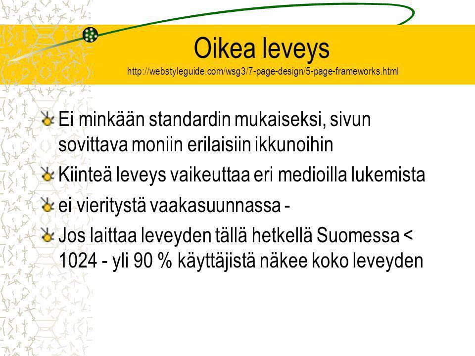 Oikea leveys http://webstyleguide.com/wsg3/7-page-design/5-page-frameworks.html Ei minkään standardin mukaiseksi, sivun sovittava moniin erilaisiin ikkunoihin Kiinteä leveys vaikeuttaa eri medioilla lukemista ei vieritystä vaakasuunnassa - Jos laittaa leveyden tällä hetkellä Suomessa < 1024 - yli 90 % käyttäjistä näkee koko leveyden