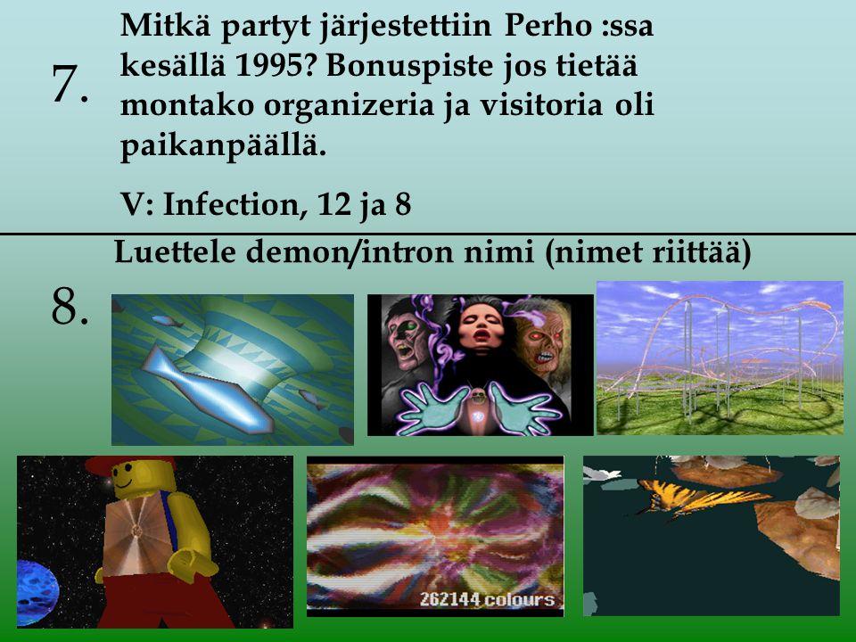 8. Mitkä partyt järjestettiin Perho :ssa kesällä 1995.