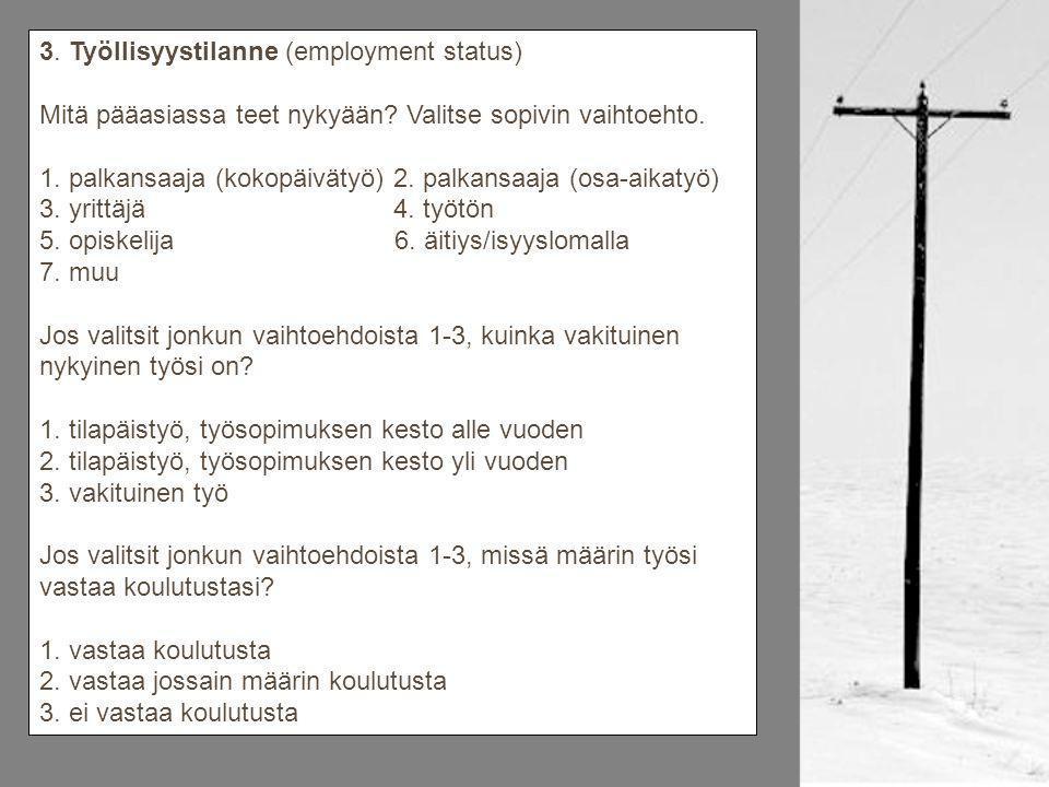 3. Työllisyystilanne (employment status) Mitä pääasiassa teet nykyään.