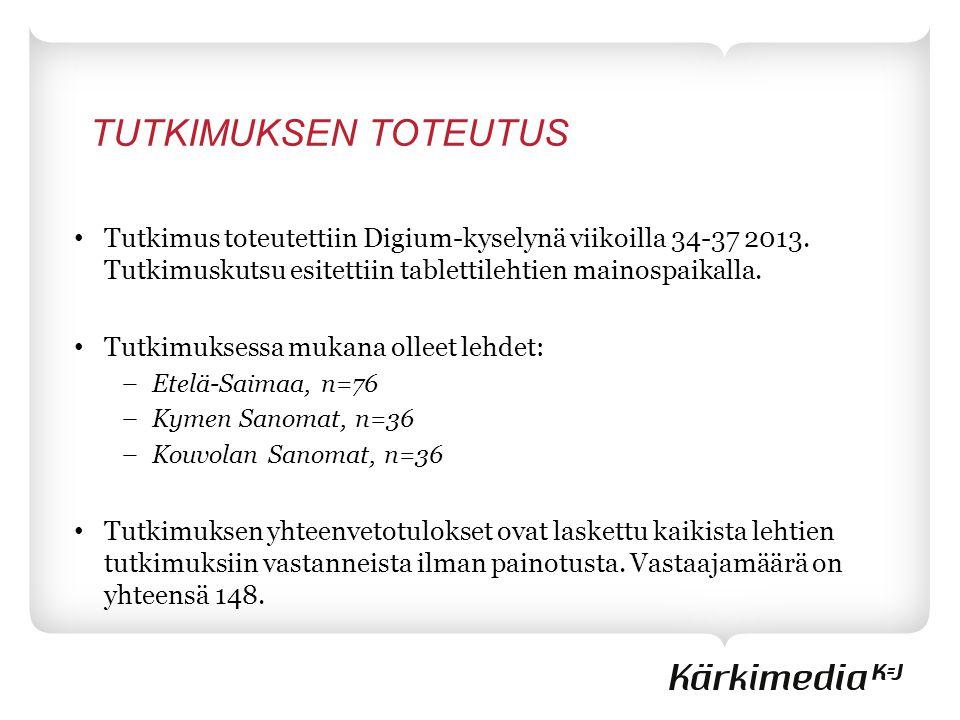 TUTKIMUKSEN TOTEUTUS • Tutkimus toteutettiin Digium-kyselynä viikoilla 34-37 2013.
