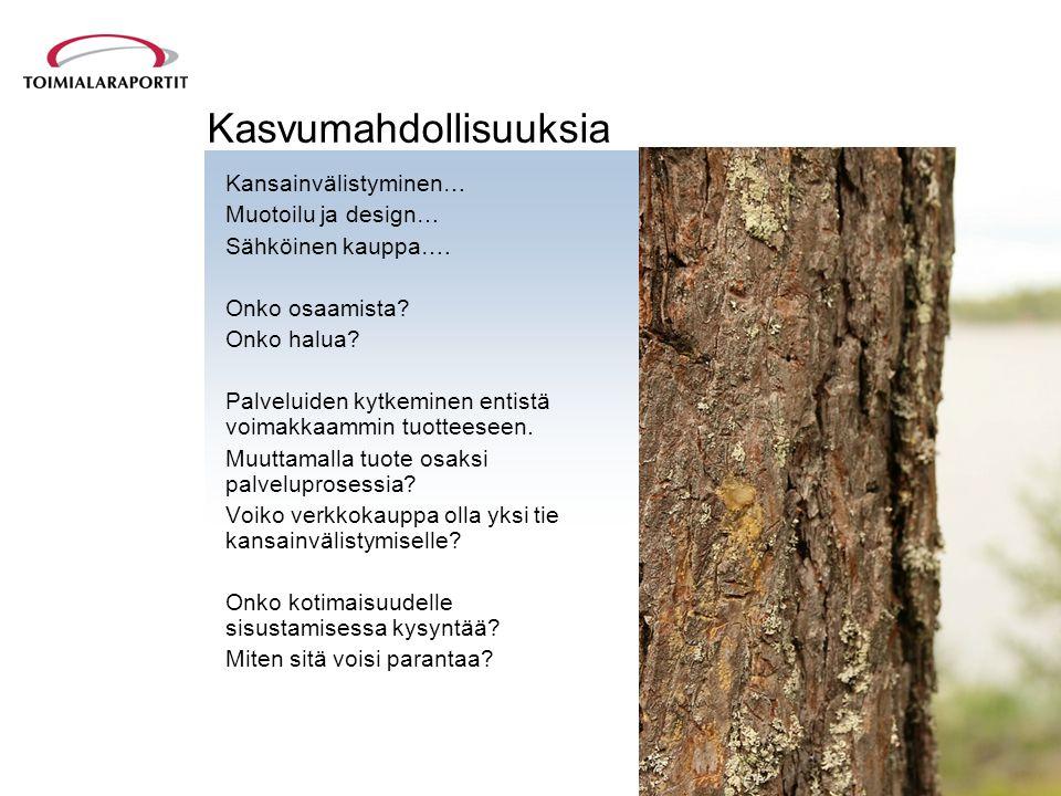 Kasvumahdollisuuksia Kansainvälistyminen… Muotoilu ja design… Sähköinen kauppa….