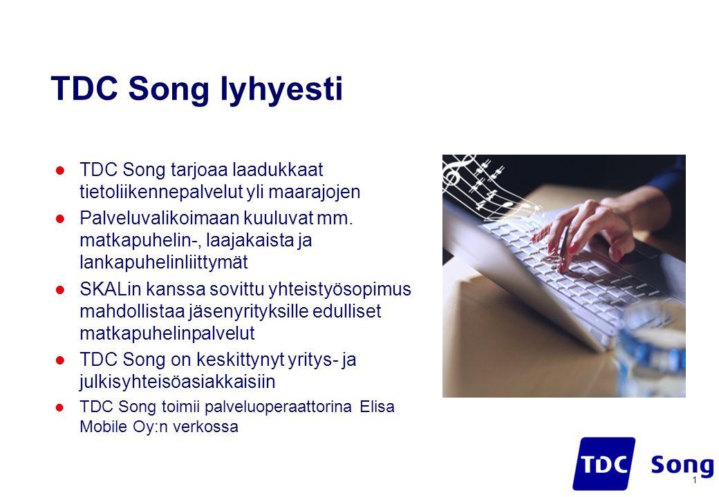 TDC Song lyhyesti  TDC Song tarjoaa laadukkaat tietoliikennepalvelut yli maarajojen  Palveluvalikoimaan kuuluvat mm.