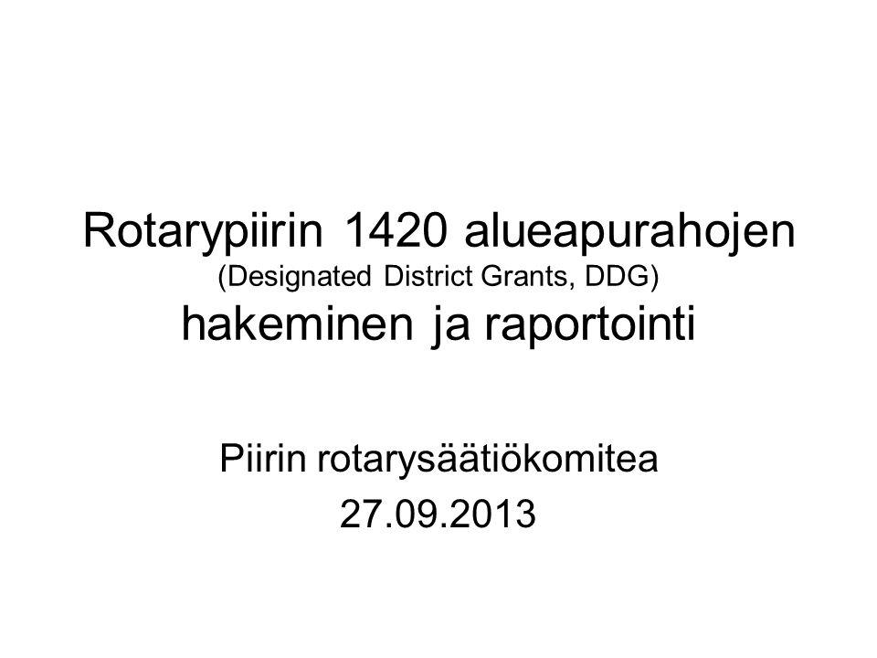 Rotarypiirin 1420 alueapurahojen (Designated District Grants, DDG) hakeminen ja raportointi Piirin rotarysäätiökomitea 27.09.2013