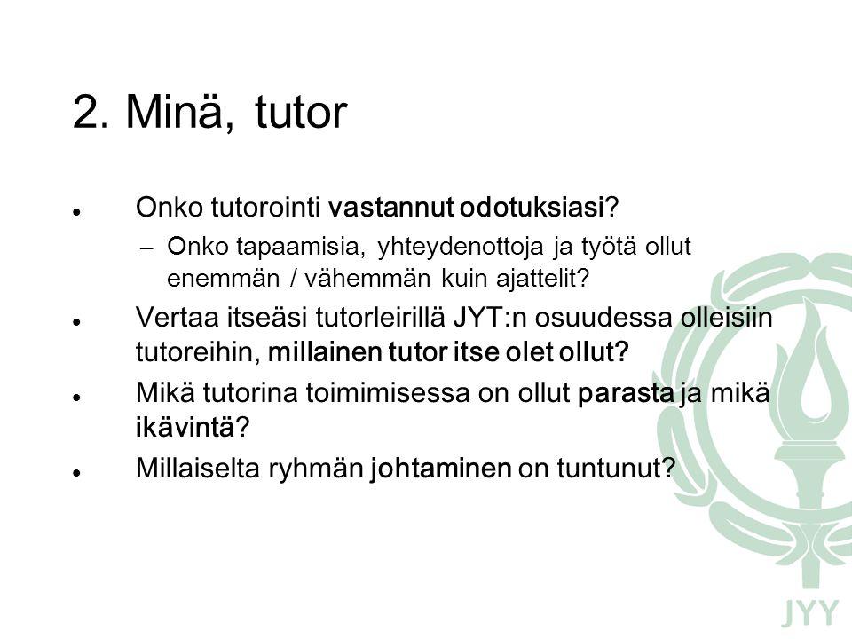 2. Minä, tutor  Onko tutorointi vastannut odotuksiasi.