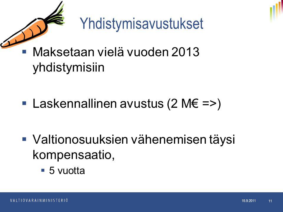 15.9.2011 Kuntaosasto 15.9.2011 11 Yhdistymisavustukset  Maksetaan vielä vuoden 2013 yhdistymisiin  Laskennallinen avustus (2 M€ =>)  Valtionosuuksien vähenemisen täysi kompensaatio,  5 vuotta