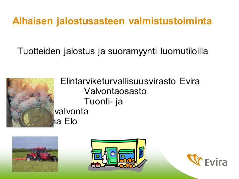 3.2.2010 Jaana Elo Alhaisen jalostusasteen valmistustoiminta Tuotteiden jalostus ja suoramyynti luomutiloilla Elintarviketurvallisuusvirasto Evira Valvontaosasto Tuonti- ja markkinavalvonta Jaana Elo