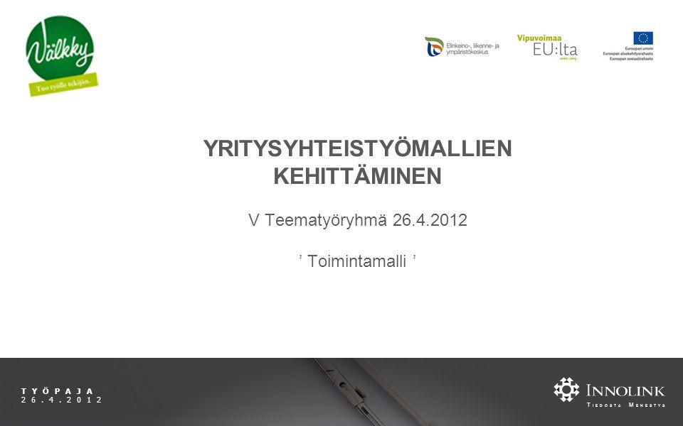 T IEDOSTA M ENESTYS TYÖPAJA 26.4.2012 YRITYSYHTEISTYÖMALLIEN KEHITTÄMINEN V Teematyöryhmä 26.4.2012 ' Toimintamalli '