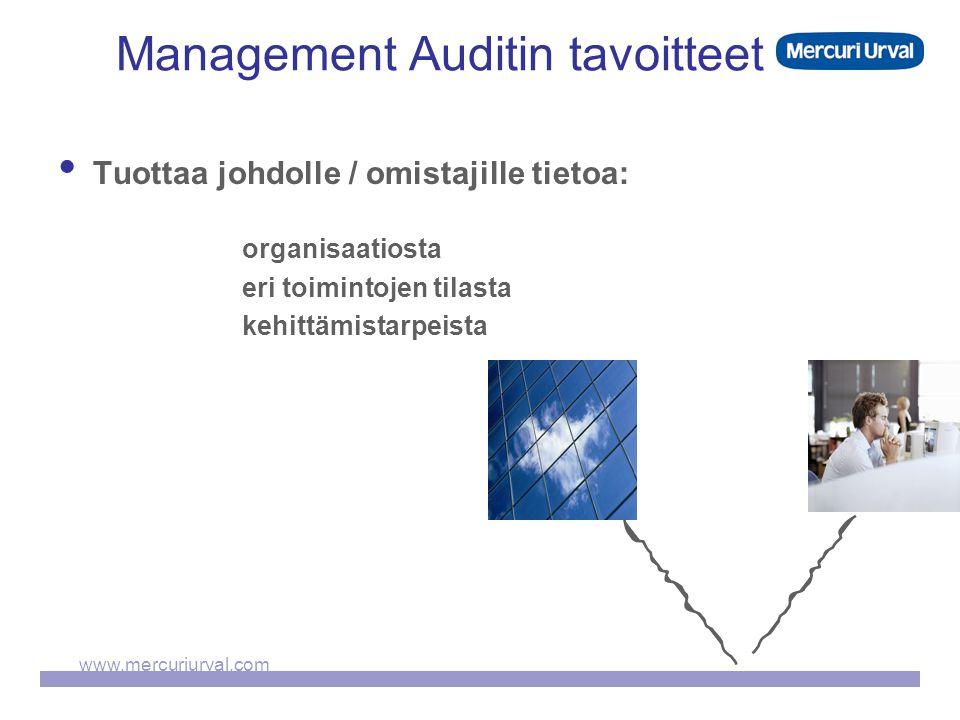 www.mercuriurval.com Management Auditin tavoitteet  Tuottaa johdolle / omistajille tietoa: organisaatiosta eri toimintojen tilasta kehittämistarpeista