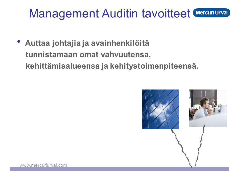 www.mercuriurval.com Management Auditin tavoitteet  Auttaa johtajia ja avainhenkilöitä tunnistamaan omat vahvuutensa, kehittämisalueensa ja kehitystoimenpiteensä.