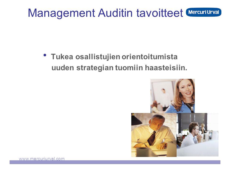 www.mercuriurval.com Management Auditin tavoitteet  Tukea osallistujien orientoitumista uuden strategian tuomiin haasteisiin.