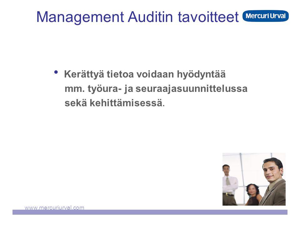 www.mercuriurval.com Management Auditin tavoitteet  Kerättyä tietoa voidaan hyödyntää mm.