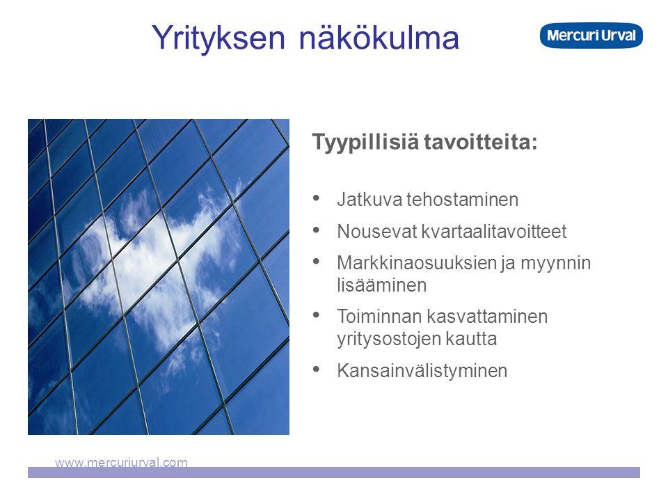 www.mercuriurval.com Yrityksen näkökulma Tyypillisiä tavoitteita: • Jatkuva tehostaminen • Nousevat kvartaalitavoitteet • Markkinaosuuksien ja myynnin lisääminen • Toiminnan kasvattaminen yritysostojen kautta • Kansainvälistyminen