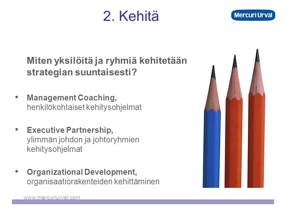 www.mercuriurval.com 2. Kehitä Miten yksilöitä ja ryhmiä kehitetään strategian suuntaisesti.