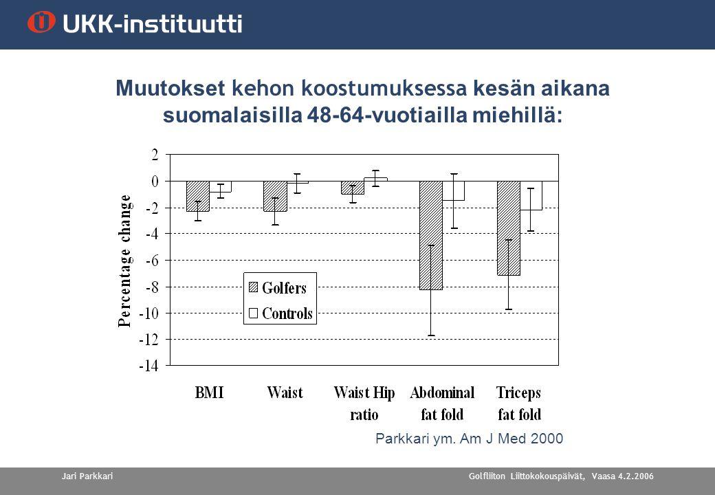 Golfliiton Liittokokouspäivät, Vaasa 4.2.2006Jari Parkkari Muutokset kehon koostumuksessa kesän aikana suomalaisilla 48-64-vuotiailla miehillä: Parkkari ym.