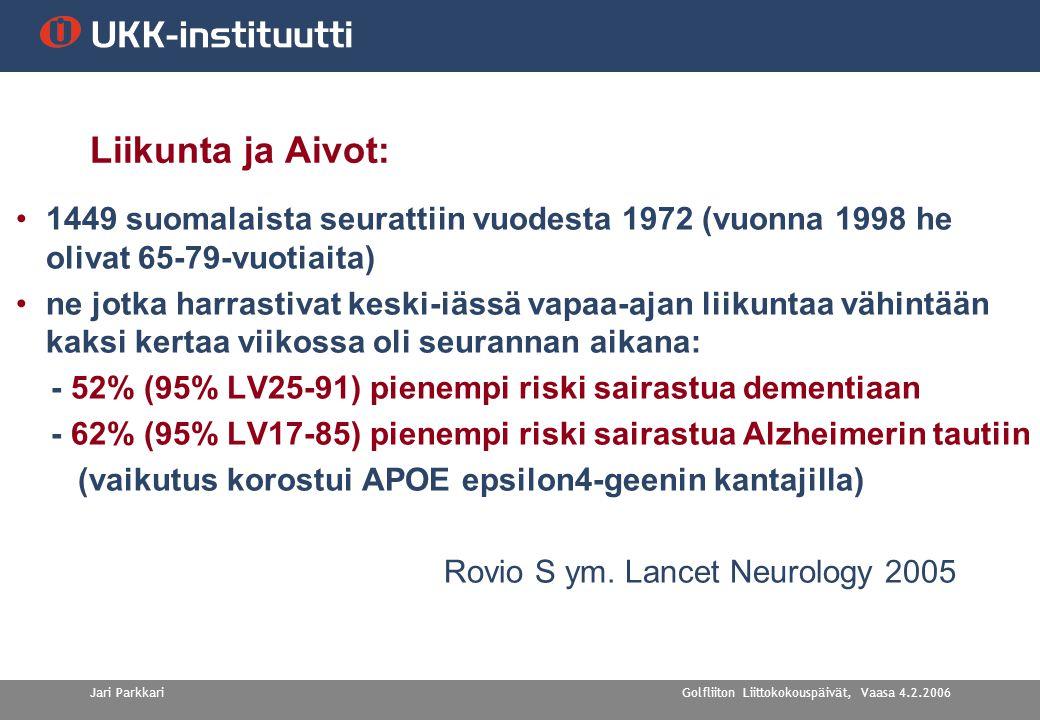 Golfliiton Liittokokouspäivät, Vaasa 4.2.2006Jari Parkkari Liikunta ja Aivot: •1449 suomalaista seurattiin vuodesta 1972 (vuonna 1998 he olivat 65-79-vuotiaita) •ne jotka harrastivat keski-iässä vapaa-ajan liikuntaa vähintään kaksi kertaa viikossa oli seurannan aikana: - 52% (95% LV25-91) pienempi riski sairastua dementiaan - 62% (95% LV17-85) pienempi riski sairastua Alzheimerin tautiin (vaikutus korostui APOE epsilon4-geenin kantajilla) Rovio S ym.