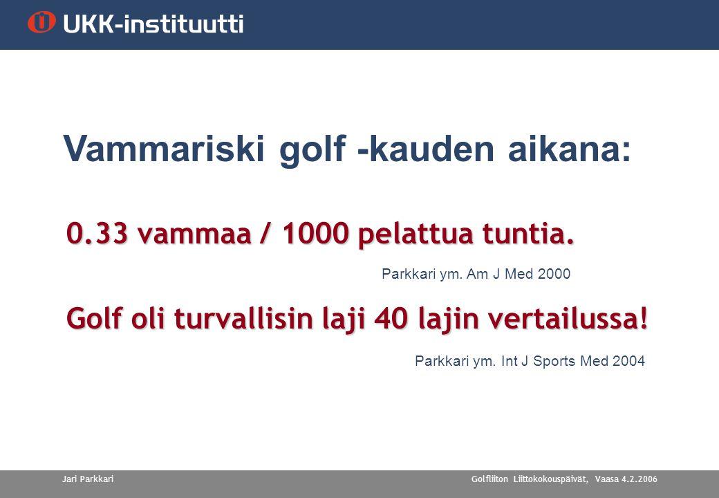 Golfliiton Liittokokouspäivät, Vaasa 4.2.2006Jari Parkkari 0.33 vammaa / 1000 pelattua tuntia.