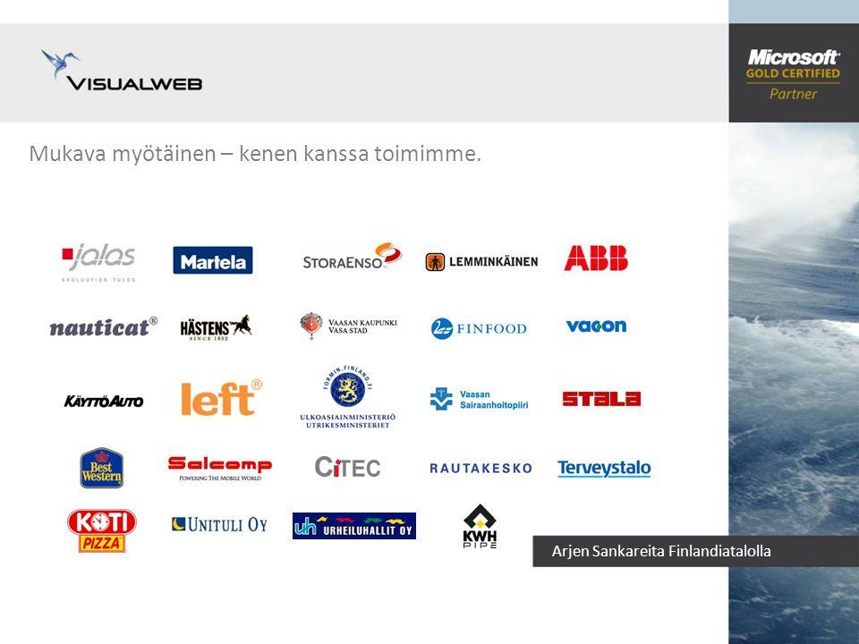 Arjen Sankareita Finlandiatalolla Visualweb – kenelle teemme Kuva Visualweb Oy Asiakkaamme Asiakastyytyväisyytemme on huippuluokkaa – olemme säilyttäneet 97% asiakkaistamme.