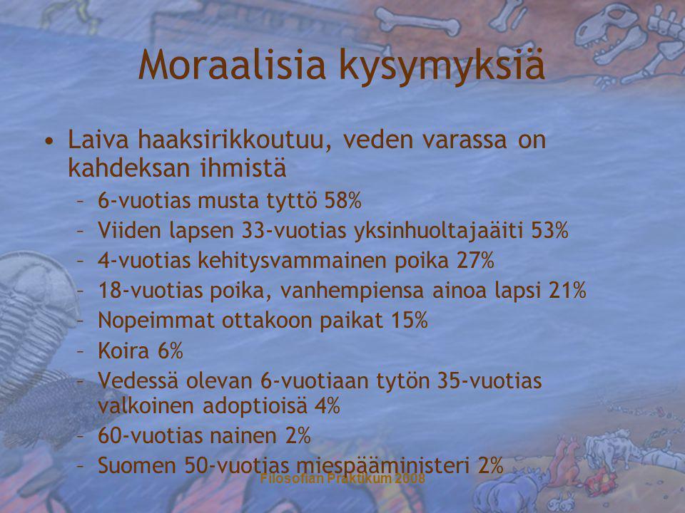 Filosofian Praktikum 2008 Moraalisia kysymyksiä •Laiva haaksirikkoutuu, veden varassa on kahdeksan ihmistä –6-vuotias musta tyttö 58% –Viiden lapsen 33-vuotias yksinhuoltajaäiti 53% –4-vuotias kehitysvammainen poika 27% –18-vuotias poika, vanhempiensa ainoa lapsi 21% –Nopeimmat ottakoon paikat 15% –Koira 6% –Vedessä olevan 6-vuotiaan tytön 35-vuotias valkoinen adoptioisä 4% –60-vuotias nainen 2% –Suomen 50-vuotias miespääministeri 2%