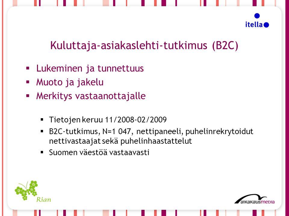 Kuluttaja-asiakaslehti-tutkimus (B2C)  Lukeminen ja tunnettuus  Muoto ja jakelu  Merkitys vastaanottajalle  Tietojen keruu 11/2008-02/2009  B2C-tutkimus, N=1 047, nettipaneeli, puhelinrekrytoidut nettivastaajat sekä puhelinhaastattelut  Suomen väestöä vastaavasti
