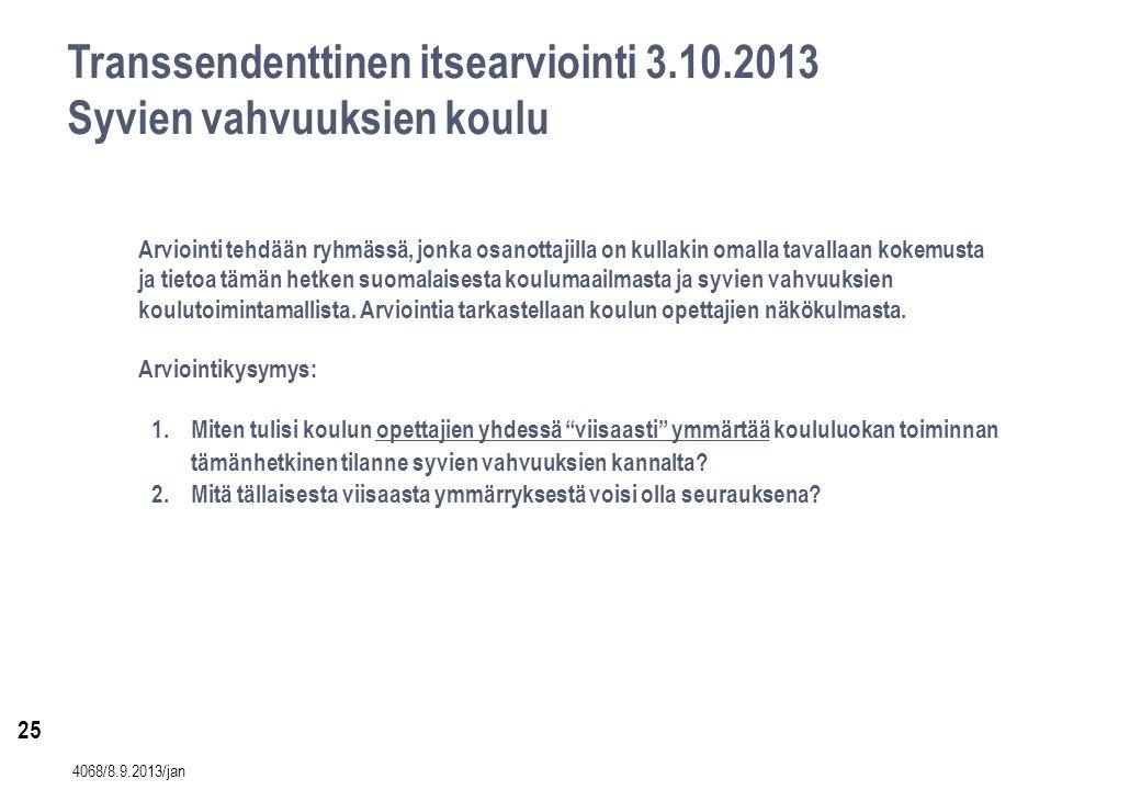 25 Transsendenttinen itsearviointi 3.10.2013 Syvien vahvuuksien koulu Arviointi tehdään ryhmässä, jonka osanottajilla on kullakin omalla tavallaan kokemusta ja tietoa tämän hetken suomalaisesta koulumaailmasta ja syvien vahvuuksien koulutoimintamallista.