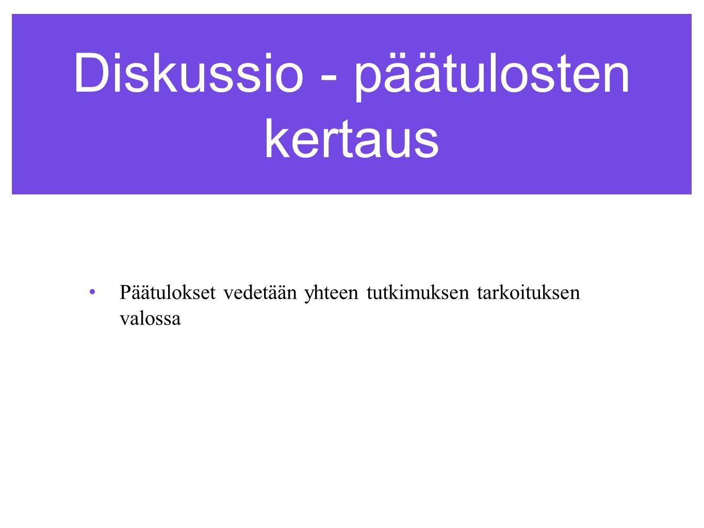 Diskussio - päätulosten kertaus •Päätulokset vedetään yhteen tutkimuksen tarkoituksen valossa