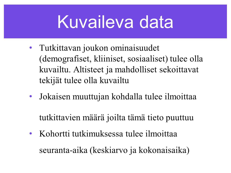 Kuvaileva data •Tutkittavan joukon ominaisuudet (demografiset, kliiniset, sosiaaliset) tulee olla kuvailtu.