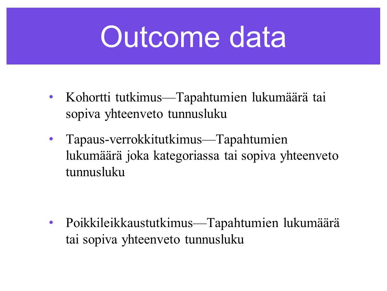 Outcome data •Kohortti tutkimus—Tapahtumien lukumäärä tai sopiva yhteenveto tunnusluku • Tapaus-verrokkitutkimus—Tapahtumien lukumäärä joka kategoriassa tai sopiva yhteenveto tunnusluku •Poikkileikkaustutkimus—Tapahtumien lukumäärä tai sopiva yhteenveto tunnusluku