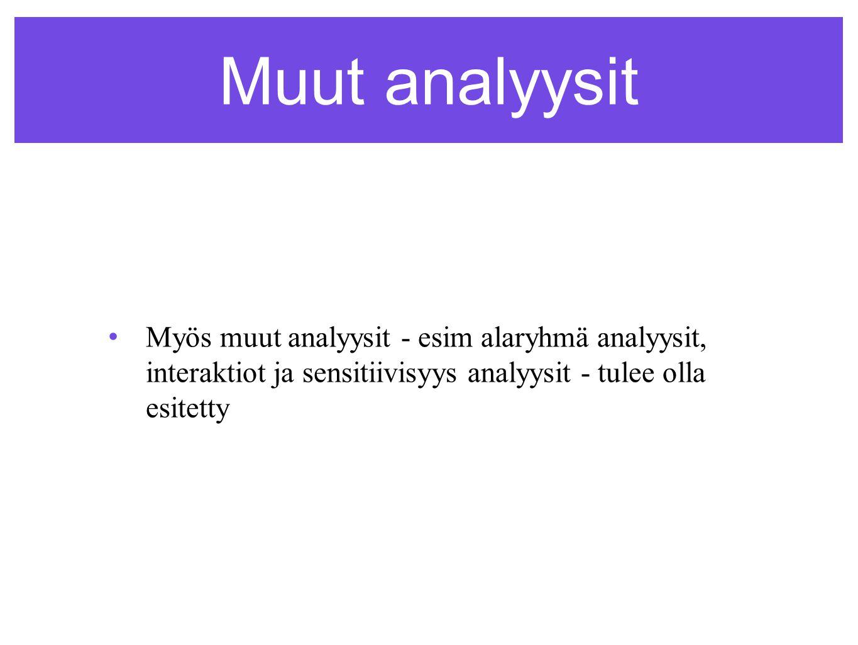 Muut analyysit •Myös muut analyysit - esim alaryhmä analyysit, interaktiot ja sensitiivisyys analyysit - tulee olla esitetty
