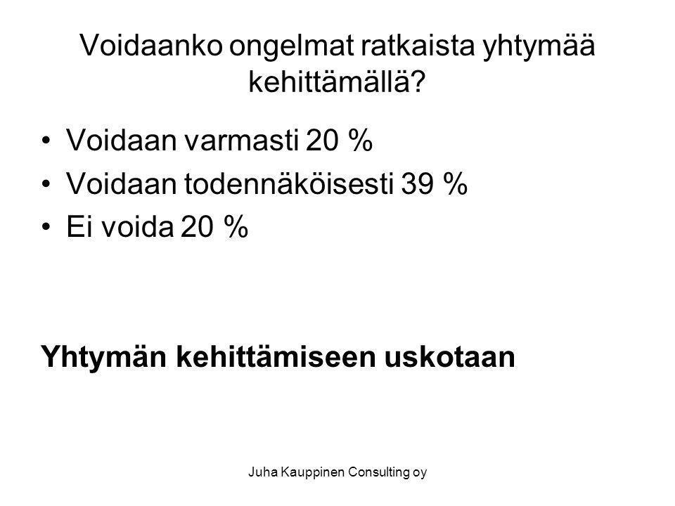Juha Kauppinen Consulting oy Voidaanko ongelmat ratkaista yhtymää kehittämällä.